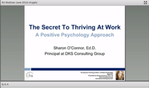 "Webinar Screenshot with words ""The Secret to Thriving at Work"""